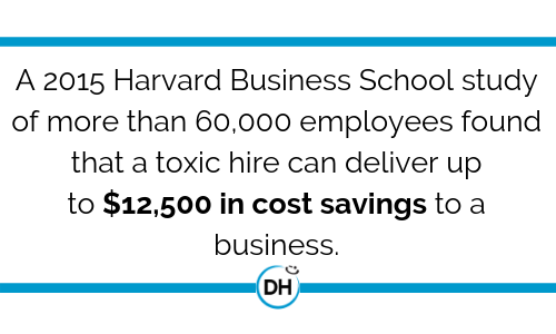 Harvard Business School toxic hire $12,500 in cost savings