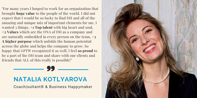 Natalia Kotlyarova, client cultivator at DH on being Great Place to Work certified!