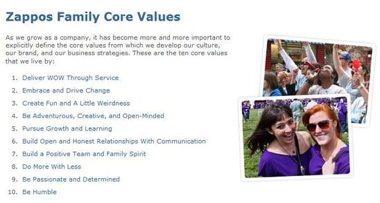 Zappos.com core values